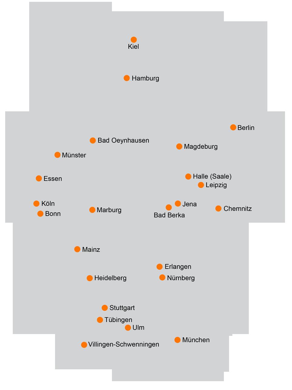 Kliniken Deutschlandkarte